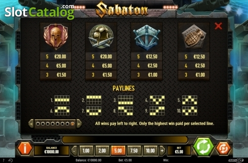 Paytable and Lines. Sabaton (Video Slot from Play'n Go)
