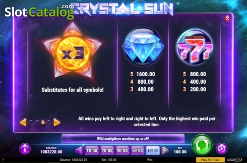Skärm11. Crystal Sun (Video Slot från Play'n Go)