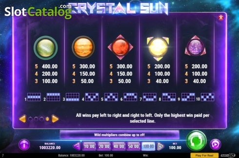 Skärm12. Crystal Sun (Video Slot från Play'n Go)