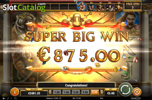 Super Big Win. Game of Gladiators (Video Slot from Play'n Go)