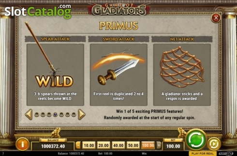 Features 4. Game of Gladiators (Video Slot from Play'n Go)