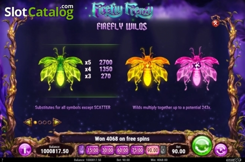 Skärm11. Firefly Frenzy (Video Slot från Play'n Go)