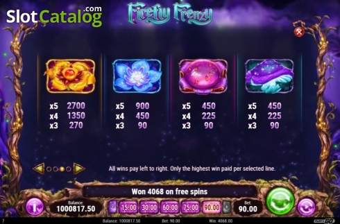 Paytable 1. Firefly Frenzy (Video Slot from Play'n Go)