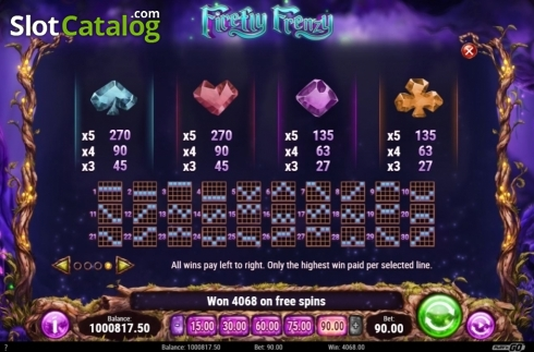 Paytable 2. Firefly Frenzy (Video Slot from Play'n Go)