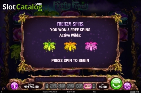Skärm6. Firefly Frenzy (Video Slot från Play'n Go)