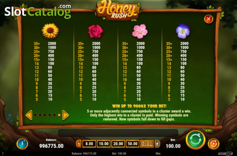 Paytable 2. Honey Rush (Video Slot from Play'n Go)