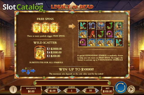 Features. Legacy of Dead (Video Slots from Play'n Go)