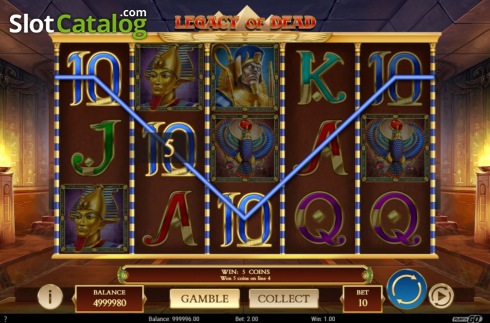 Win Screen 1. Legacy of Dead (Video Slots from Play'n Go)