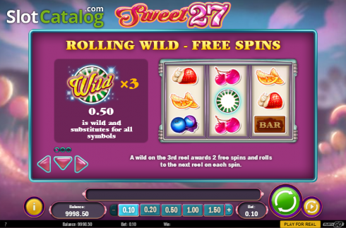 Paytable 1. Sweet 27 (Video Slots from Play'n Go)
