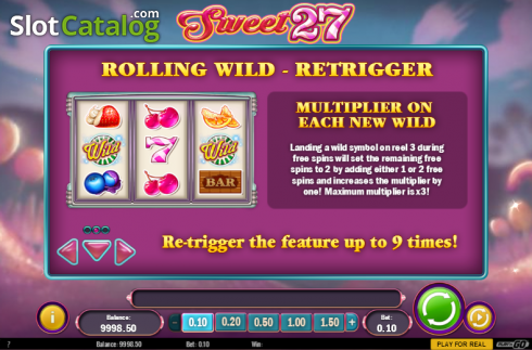 Paytable 2. Sweet 27 (Video Slots from Play'n Go)
