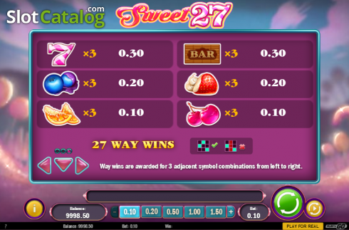 Paytable 3. Sweet 27 (Video Slots from Play'n Go)