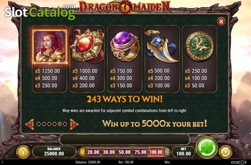 Scherm13. Dragon Maiden (Video Slot van Play'n Go)