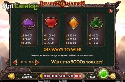 Scherm14. Dragon Maiden (Video Slot van Play'n Go)