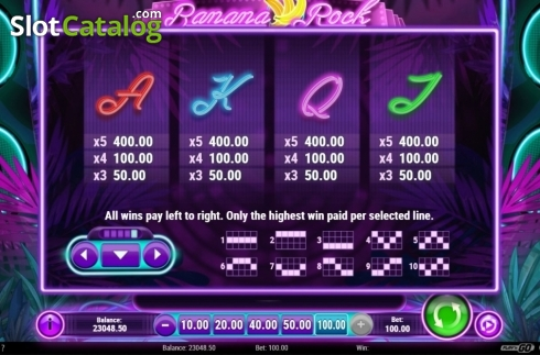Paytable. Banana Rock (Video Slot from Play'n Go)