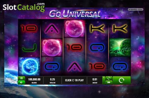 Intro screen. Go Universal (Video Slot from Playreels)