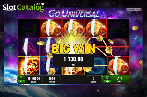 Big win screen. Go Universal (Video Slot from Playreels)