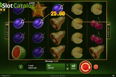 Win Screen. Lucky Staxx 40 lines (Video Slot from Playson)