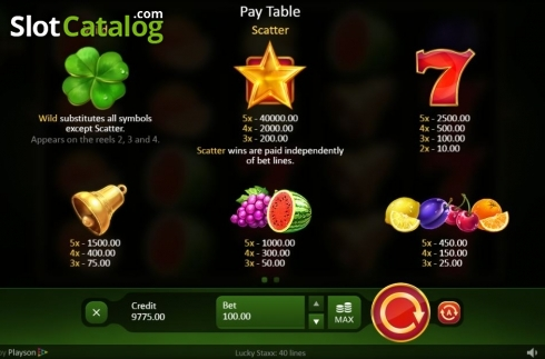 Paytable. Lucky Staxx 40 lines (Video Slot from Playson)