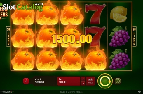 Win Screen. Fruits & Clovers 20 lines (Video Slot from Playson)