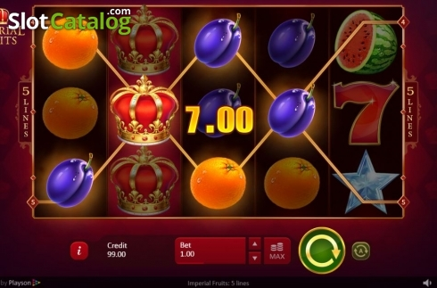 Wild Win Screen. Imperial Fruits: 5 lines (Video Slot from Playson)