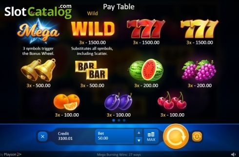 Paytable. Mega Burning Wins 27 ways (Video Slot from Playson)