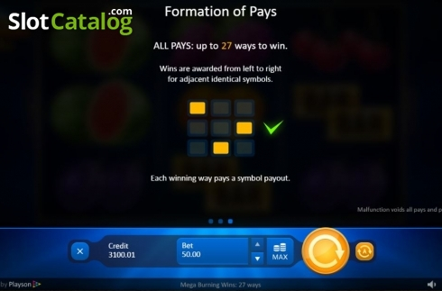 Lines. Mega Burning Wins 27 ways (Video Slot from Playson)