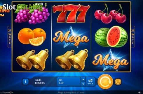 Reel Screen. Mega Burning Wins 27 ways (Video Slot from Playson)