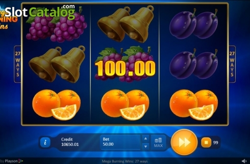 Win Screen 1. Mega Burning Wins 27 ways (Video Slot from Playson)