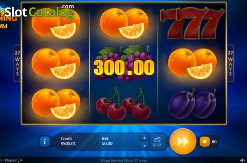 Win Screen 2. Mega Burning Wins 27 ways (Video Slot from Playson)