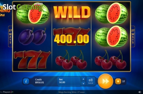 Win Screen 3. Mega Burning Wins 27 ways (Video Slot from Playson)