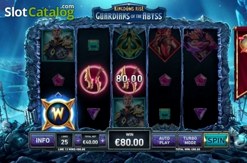 Win Screen 1. Kingdoms Rise: Guardians of the Abyss (Video Slot from Playtech Origins)