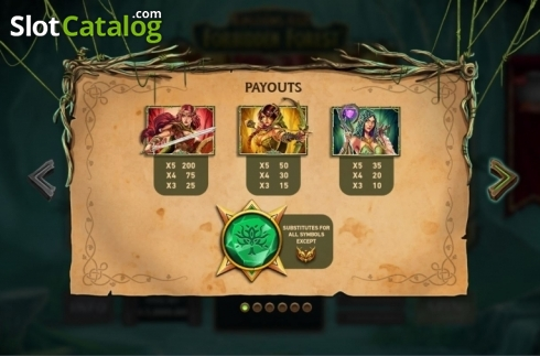 Paytable 1. Kingdoms Rise: Forbidden Forest (Video Slot from Playtech Origins)