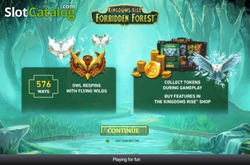 Start Screen. Kingdoms Rise: Forbidden Forest (Video Slots from Playtech Origins)