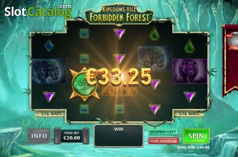 Win Screen 1. Kingdoms Rise: Forbidden Forest (Video Slot from Playtech Origins)