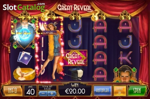 Win Screen. The Great Reveal (Video Slot from Playtech)