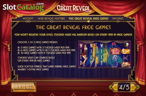 Free Games. The Great Reveal (Video Slot from Playtech)