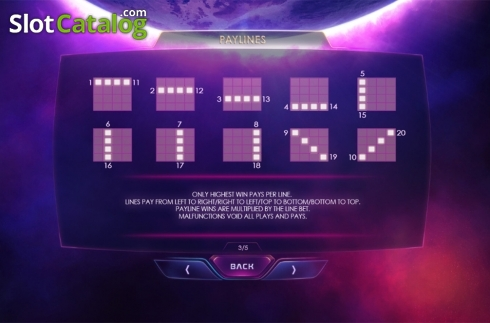 Paytable 3. Galactic Streak (Video Slots from Playtech)