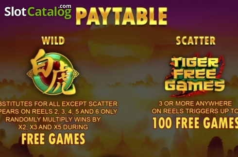 Paytable. Tiger Claw (Playtech) (Video Slot from Playtech)