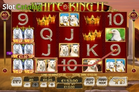 Win Screen. White King 2 (Video Slot from Playtech)