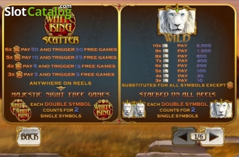 Paytable. White King 2 (Video Slot from Playtech)