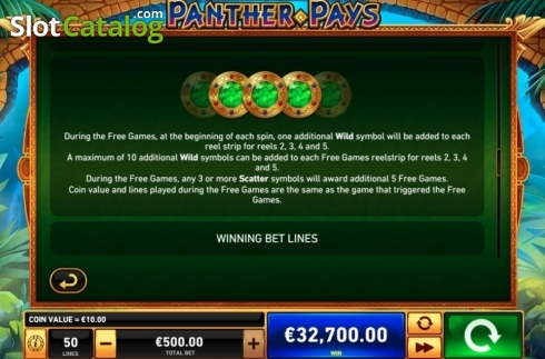 Features. Panther Pays (Video Slots from Playtech)
