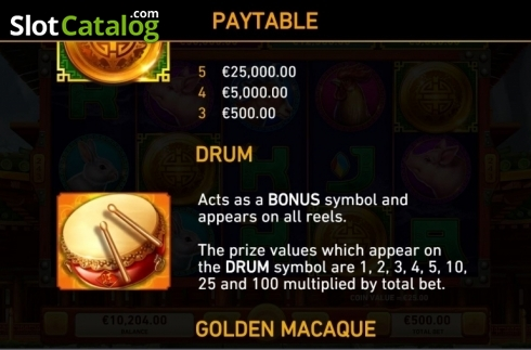 Paytable 2. Golden Macaque (Video Slots from Rarestone Gaming)
