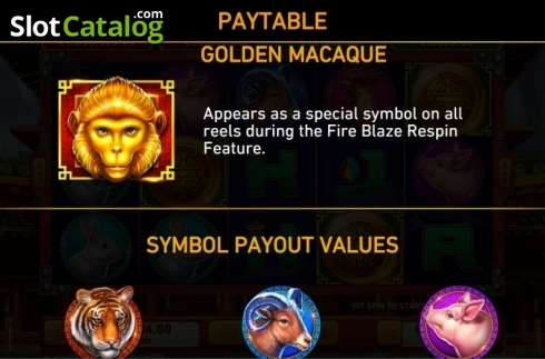 Paytable 3. Golden Macaque (Video Slots from Rarestone Gaming)