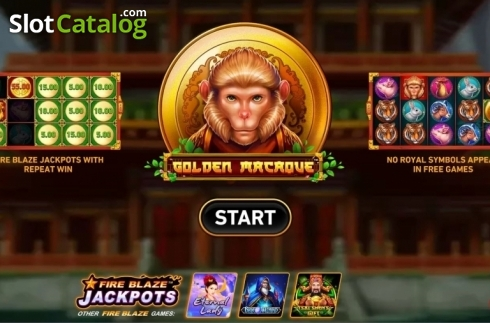 Start Screen. Golden Macaque (Video Slots from Rarestone Gaming)