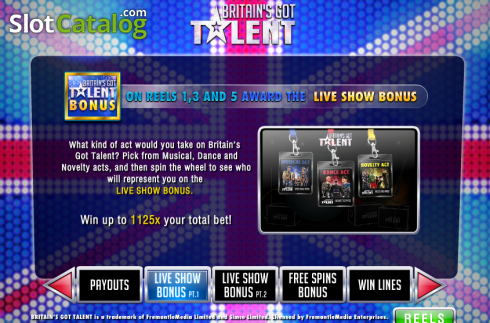 Screen4. Britain's Got Talent (Video Slot from Playtech)