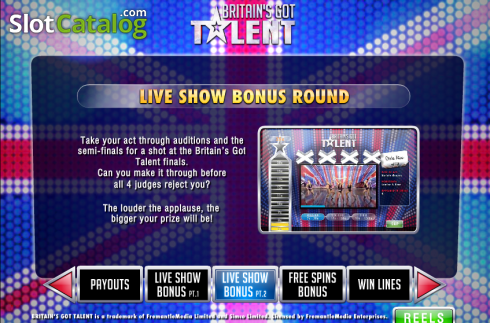 Screen5. Britain's Got Talent (Video Slot from Playtech)