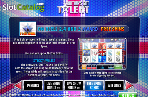 Screen6. Britain's Got Talent (Video Slot from Playtech)