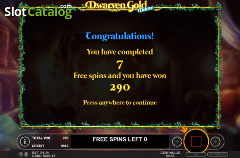 Win presentation. Dwarven Gold Deluxe (Video Slot from Pragmatic Play)