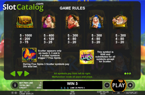 Paytable 1. Dwarven Gold Deluxe (Video Slot from Pragmatic Play)