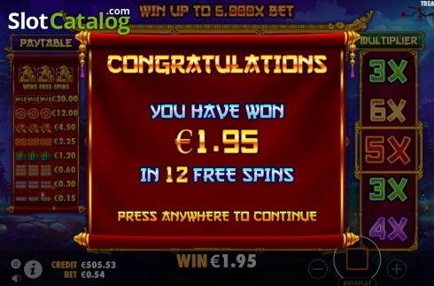 Free Spins Win. Treasure Horse (Video Slot from Pragmatic Play)
